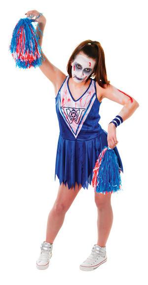 Ladies Zombie Blue & White Cheerleader Halloween Fancy Dress Costume UK 10-14