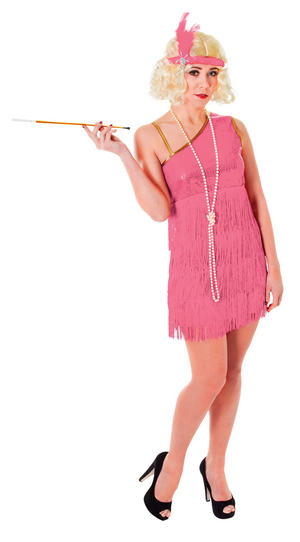 Ladies 1920's Fancy Flapper Dress Costume Pink Womens Charleston Outfit UK 10-14