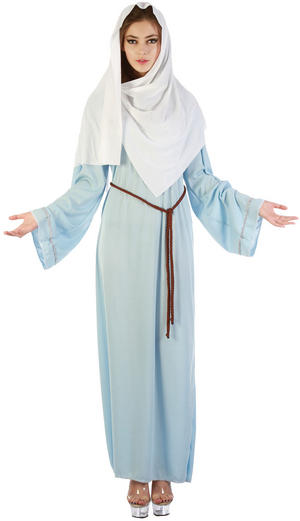 Ladies Virgin Mary Fancy Dress Costume Womens Christmas Outfit UK 10-14