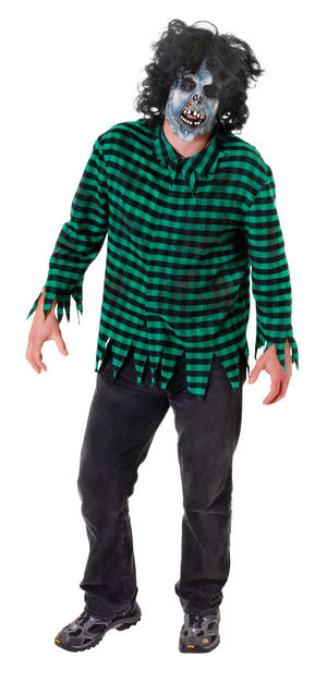 Mens Green & Black Zombie Shirt & Mask Fancy Dress Costume Halloween Outfit