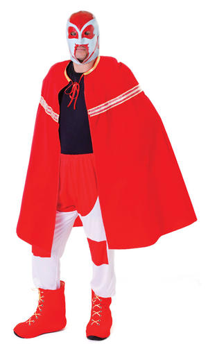 Mens Red Wrestler Outfit with Mask American Fancy Dress Costume Wrestling Outfit