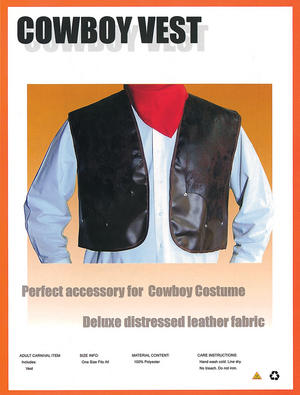 Mens Deluxe Brown Leather Cowboy Vest Fancy Dress Costume American Outfit New