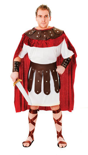 Mens Trojan White & Red Soldier Fancy Dress Costume Greek God Warrior Outfit
