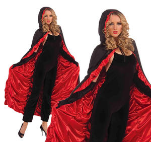 Ladies Black & Red Coffin Cape Halloween Fancy Dress Accessory One Size Fits All