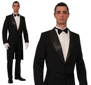 Mens Tuxedo Tailcoat & Trousers Suit Fancy Dress Costume Outfit James Bond Buttl