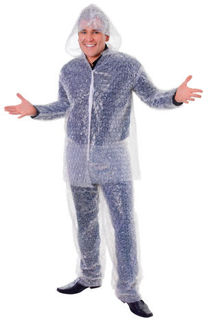 Unisex Mens Womens Clear Bubblewrap Fancy Dress Costume Outfit Stag Do Night New