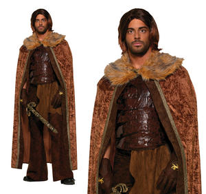 Mens Brown Faux Fur Trimmed Cape Fancy Dress Costume Game Of Thrones Outfit