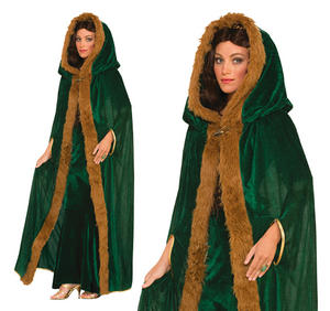 Ladies Green Faux Fur Trimmed Cape Medieval Game Of Thrones Fancy Dress Outfit