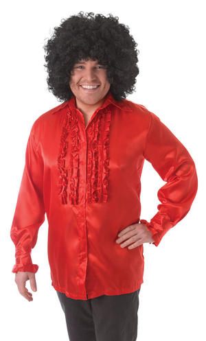 Mens Satin Red Shirt with Ruffles Comedy Fancy Dress Costume Dancing Outfit New