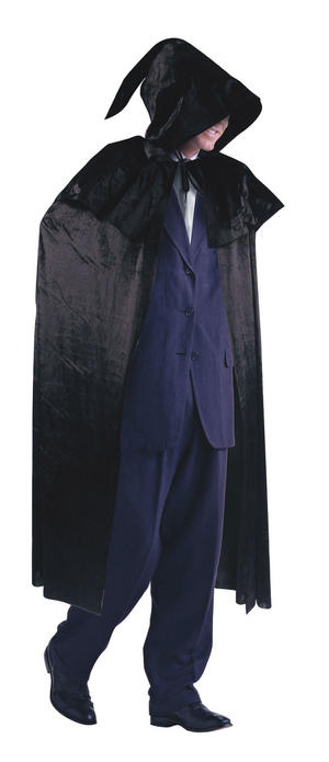 Mens Black Velvet Cloak with Hood Dracula Vampire Fancy Dress Costume Outfit New
