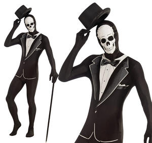 Adult Tuxedo Body Suit Skin James Bond Fancy Dress Stag Do Outfit