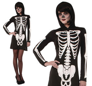 Ladies Hooded Skeleton Fancy Dress Costume Sexy Halloween Party Outfit UK 10-14