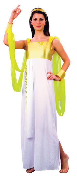 Ladies White & Gold Goddess Greecian Fancy Dress Costume Womens Outfit Uk 10-14