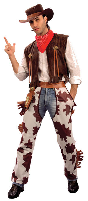 Mens Cowboy Costume with Cow Print Chapes Fancy Dress Costume USA Outfit New