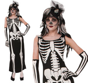 Ladies Long Robe Skeleton Fancy Dress Costume Halloween Party Outfit UK 10-14