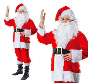 Adult Mens 7 Piece Father Christmas Fancy Dress Costume Santa Outfit New