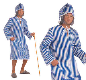 Mens Scrooge Nightshirt Fancy Dress Costume And Cap Christmas Outfit New