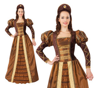 Ladies Golden Queen Fancy Dress Costume Tudor Renaissance Queen Outfit UK 10-14