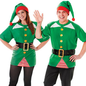 Unisex Green Jolly Elf Christmas Fancy Dress Costume Xmas Party Elves Outfit New