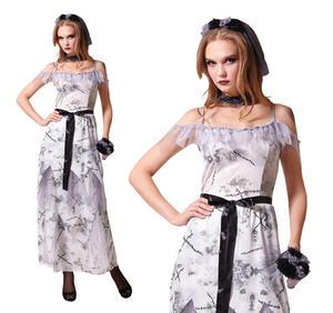 Ladies Zombie Corpse Bride Fancy Dress Costume Halloween Living Dead UK 10-14