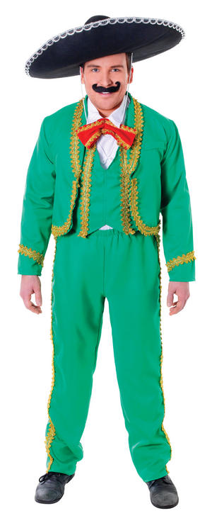 Mens Green Gold Mexican Suit & Black Hat Fancy Dress Costume Mexico Outfit New