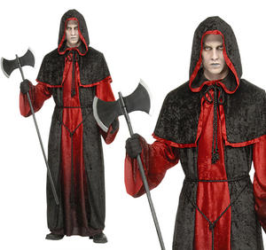 Mens Red & Black Demon Robe Fancy Dress Costume Zombe Monk Halloween Outfit