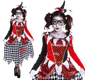 Ladies Harlequin Girl Fancy Dress Costume Harley Quinn Halloween Costume New