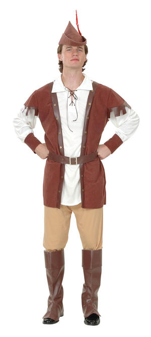 Mens Deluxe Brown Robin Hood Fancy Dress Costume Historic Childrens Story New