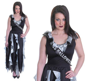 Ladies Zombie Prom Queen Fancy Dress Costume Sexy Halloween Outfit UK 10-14