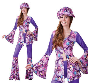 Ladies Purple Groovy Hippy Fancy Dress Costume 1970S Flares Hippie UK 10-14