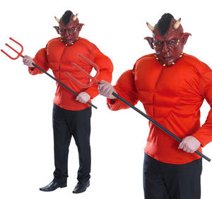 Red Devil Fancy Dress Costume Strong Man Demon Halloween Outfit New