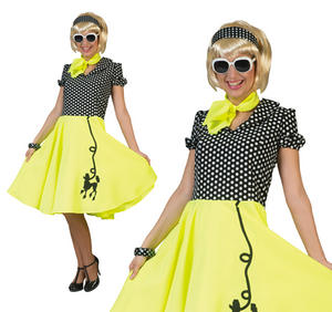 Ladies Yellow & Black Rock N Roll Poodle Fancy Dress Costume 1950S Grease Outfit