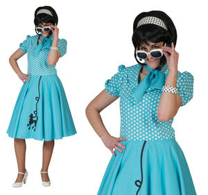 Ladies Blue Rock N Roll Poodle Fancy Dress Costume 1950S Grease Outfit UK 10-14