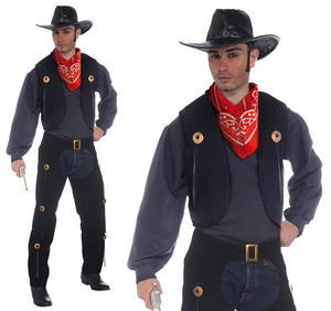 Mens Black Cowboy Vest & Chaps Set Fancy Dress Costume Western Adult Outfit