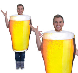 Adult Pint Of Beer Fancy Dress Costume Stag Do Oktoberfest Outfit