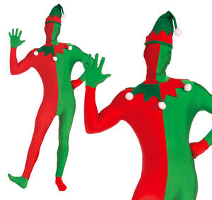 Adult Mens Elf Skin Tight Body Suit Fancy Dress Costume Christmas Party Outfit
