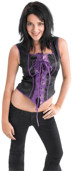 Ladies Sexy Corset Black & Purple Sexy Fancy Dress Costume Role Play UK 10-14