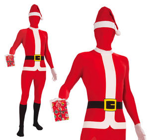 Adult Mens Santa Skin Body Suit Fancy Dress Costume Father Christmas Outfit