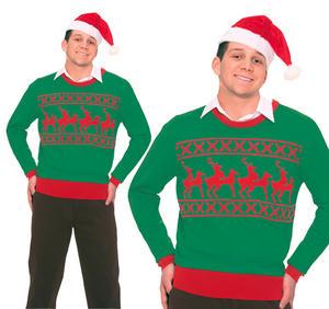 Adult Mens Green Reindeer Games Christmas Jumper Naughty Joke Top Sweater