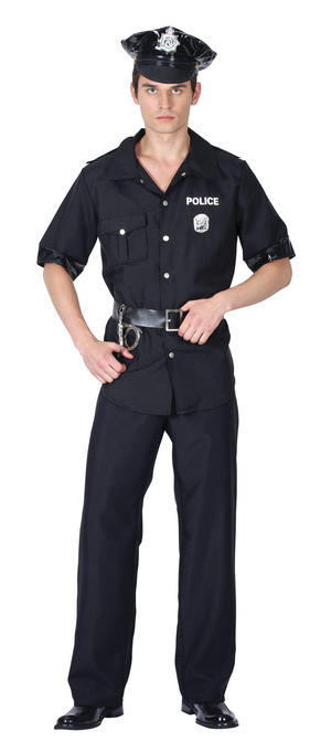 Mens Policeman Fancy Dress Costume Cops USA American Police Man Oufit New