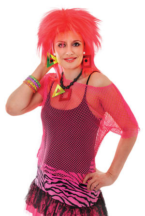 Ladies Neon Pink Punk Rocker Vest Top Nu Rave Fancy Dress Costume UK 10-14