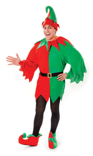 Mens Elf Santas Little Helper Fancy Dress Costume Xmas Elves Christmas Outfit New