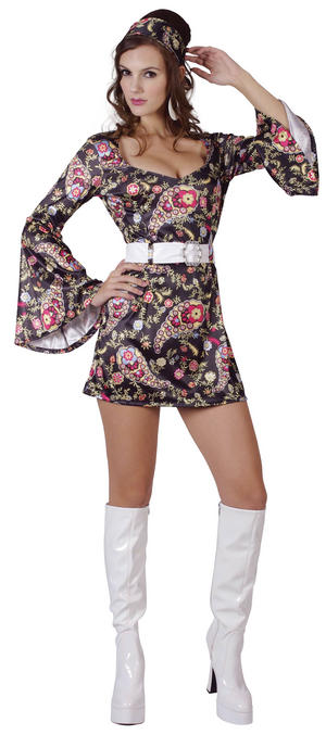 Ladies Black Disco Outfit Fancy Dress Costume 1970s Womens Hippy Outfit UK 10-14
