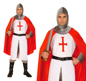 Mens Crusader Knight Medieval Lancelot Fancy Dress Costume St George Outfit Xl