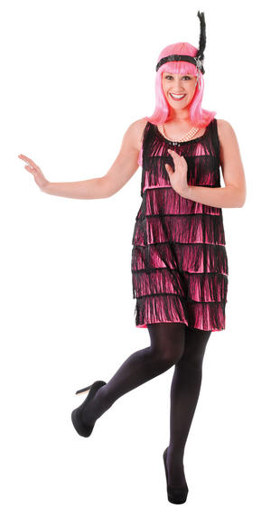 Ladies Black & Pink Flapper Gown Fancy Dress Costume Roaring 20s Outfit UK 10-14
