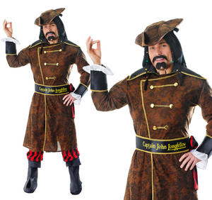 Mens Captain John Longfellow Fancy Dress Costume X Rated Stag Do Pirate Outfit