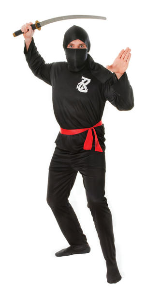 Mens Black Ninja Outfit Red Belt Fancy Dress Costume Karate Kung Fu Outfit New