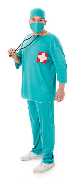 Unisex Green Surgeon Scrubs Fancy Dress Costume Doctor Hospital Surgery Outfit