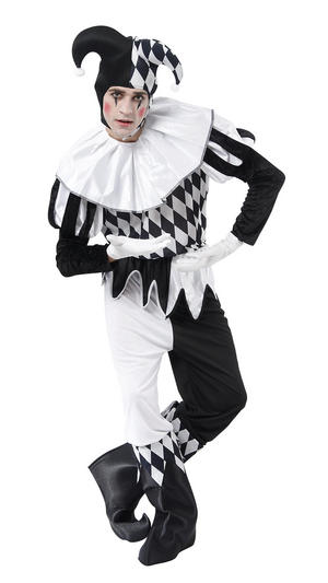 Mens Black & White Harlequin Joker Fancy Dress Costume Alice In Wonderl& New