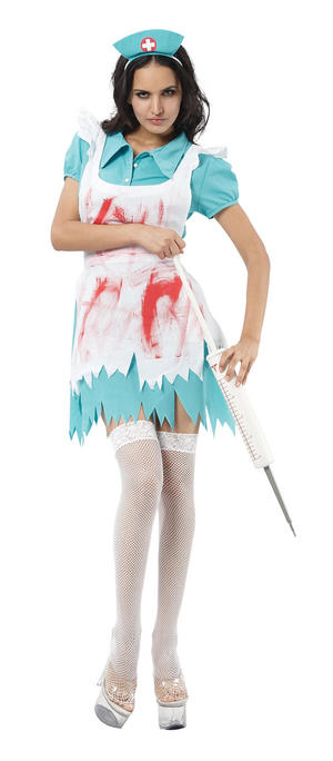 Ladies Halloween Blood Splattered Nurse Fancy Dress Costume Womens UK 10-14